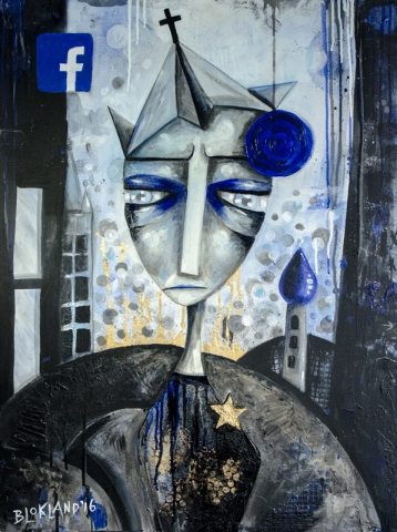 Follow me - mixed media painting by Marieke Blokland - Bloknote.nl