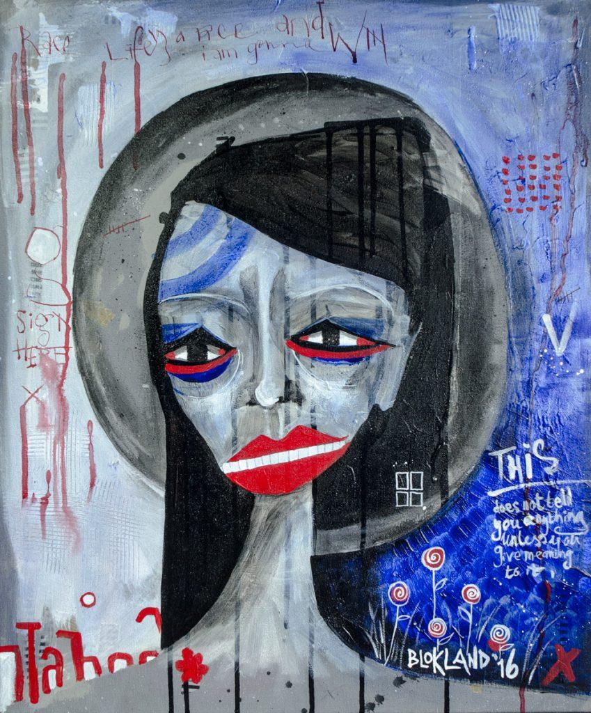 Mary is Tired - mixed media painting by Marieke Blokland - Bloknote.nl